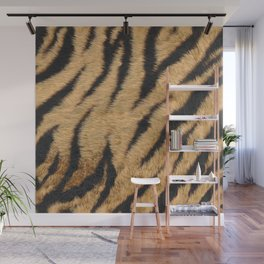 Beige and brown realistic tiger fur texture Wall Mural