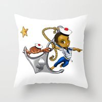 marine Throw Pillows featuring Marine by Andre auguste-charlery