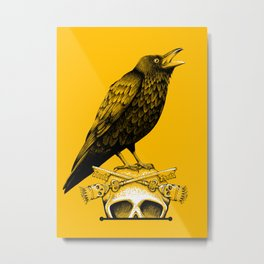 Black Crow, Skull and Cross Keys Metal Print