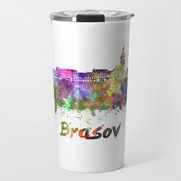 Brasov skyline in watercolor Travel Mug