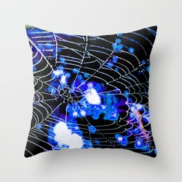 Spider Love Blues Throw Pillow