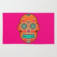sugar skull Area & Throw Rugs featuring Sugar Skull by Good Sense