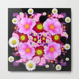 Black Design & Pink Roses Shasta Daisies Art Abstract Metal Print