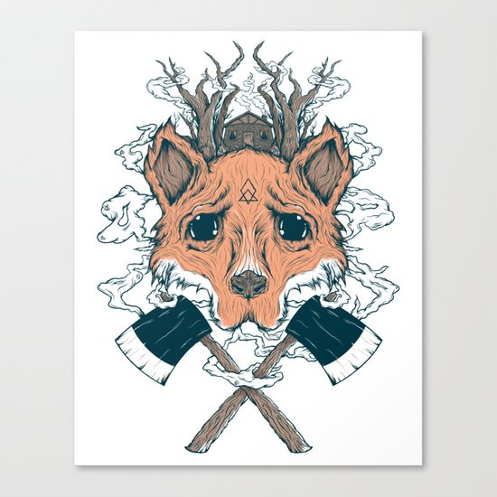 Fox and the House Canvas Print