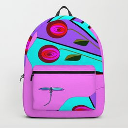 A Lavender and Blue Fan with Tassel Backpack