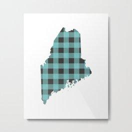 Maine Plaid in Mint Metal Print