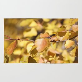 Late Fall Hawthorn Leaves Rug