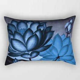 Deep Blue Sacred Egyptian Bean: Temple of Flora Rectangular Pillow