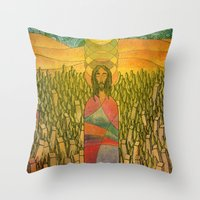 jesus Throw Pillows featuring Jesus by Eugene Frost