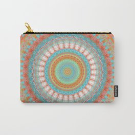 Turquoise Coral Mandala Design Carry-All Pouch