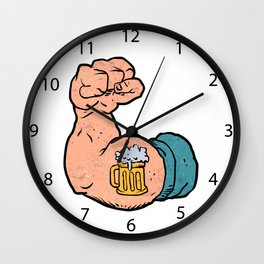 arm flexed with beer tattoo Wall Clock