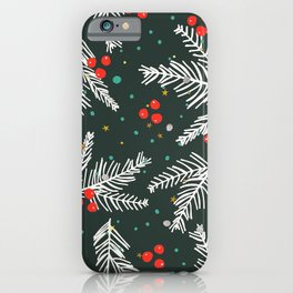 Christmas Holiday Snowy Pine Tree Branches & Holly Pattern iPhone Case