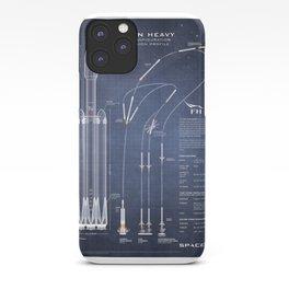 SpaceX Falcon Heavy Spacecraft NASA Rocket Blueprint in High Resolution (dark blue) iPhone Case
