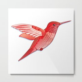 Red hummingbird colibri. Metal Print
