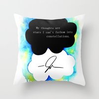 fault in our stars Throw Pillows featuring The Fault in Our Stars by Awful Artist