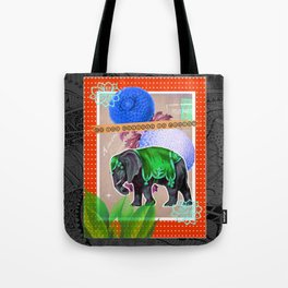 Vintage circus elephant and flowers altered art collage  Tote Bag