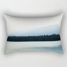 Misty Mountains - Lake Annette in Jasper, Canada Rectangular Pillow
