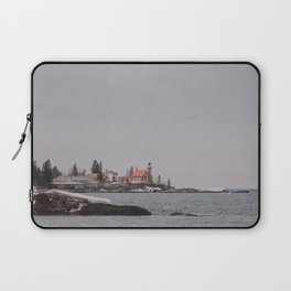 Lighthouse Winter Waterfront on Lake Superior Laptop Sleeve