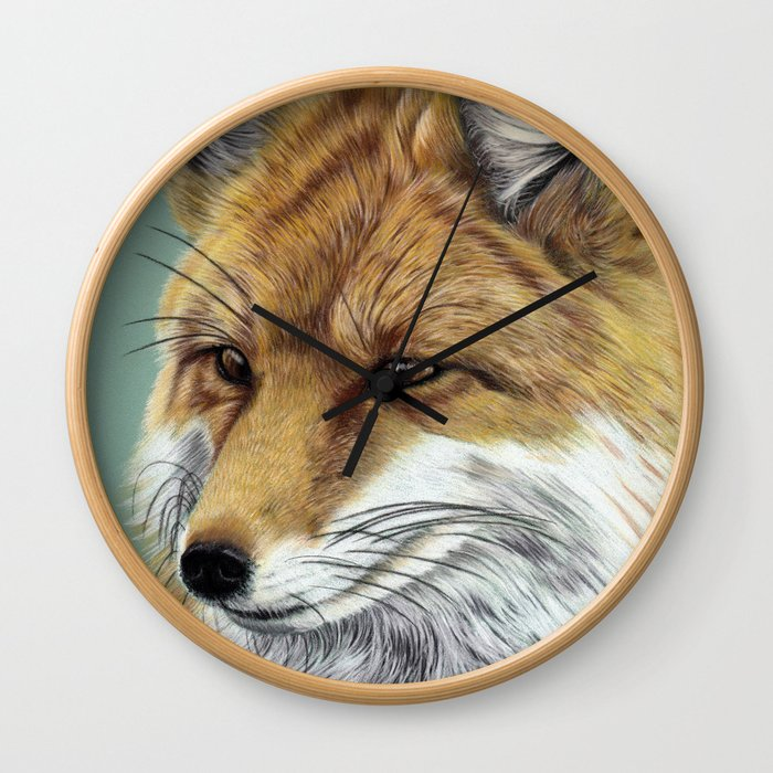 Fox Portrait 01 Wall Clock
