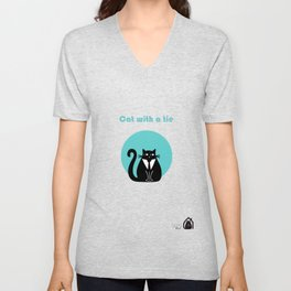 """Cat with a tie"" by Qora & Shaï Unisex V-Neck"