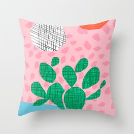 Lampin' - memphis throwback style retro neon cactus desert palm springs california southwest hipster Throw Pillow