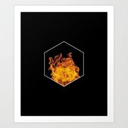 Fire hexagon abstract - Fire sign - The Five Elements Art Print