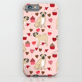 Pug valentines day cupcakes love hearts dog breed pure breed pugs iPhone Case