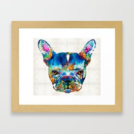 Colorful French Bulldog Dog Art By Sharon Cummings Framed Art Print