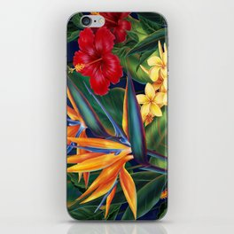 Tropical Paradise Hawaiian Floral Illustration iPhone Skin