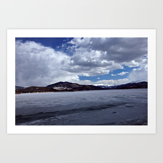 Icy Lake Dillon Cloudy Afternoon Art Print