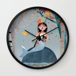Milla Mermaid in the fall Wall Clock