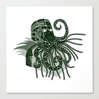 cthulhu Canvas Prints featuring Cthulhu by Hinterlund