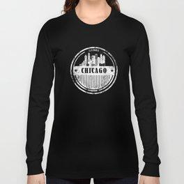 Grunge Chicago Silhouette Skyline Long Sleeve T-shirt