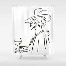 Retro portrait of man Shower Curtain