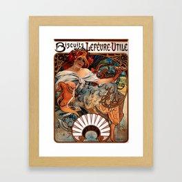 "Alphonse Mucha ""Biscuits Champagne-Lefèvre-Utile"" Framed Art Print"
