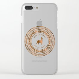 Save the Drama For Yo' Llama (Copper on Black) Clear iPhone Case