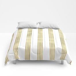 Simply luxury Gold small stripes on clear white - vertical pattern Comforters
