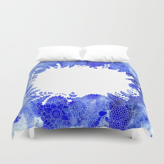 Blue Floral Pattern 04 Duvet Cover