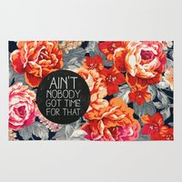kurt cobain Area & Throw Rugs featuring Ain't Nobody Got Time For That by Sara Eshak