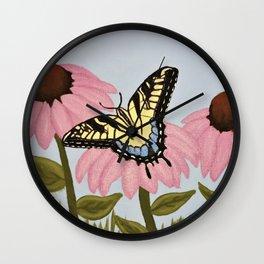 Swalowtail Butterfy on Purple Cone Flower Wall Clock
