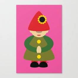 Gnome on Pink Canvas Print