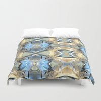 bands Duvet Covers featuring Blue And Beige Bands by Phil Perkins
