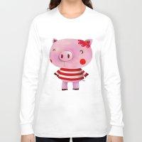 piglet Long Sleeve T-shirts featuring Piglet by Gabriela Granados
