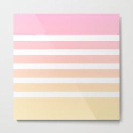 Pink yellow white lines Metal Print