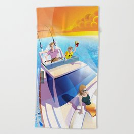 FAMILY ON YACHT Beach Towel