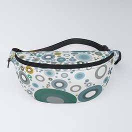 MOLECULE - scattered teal green dots on white abstract design Fanny Pack