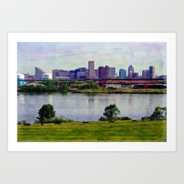 Baltimore skyline from Middle Branch Park Art Print