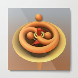 Ying and Yang fractal 3-d art Metal Print