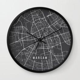 Warsaw Map, Poland - Gray Wall Clock