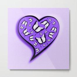 Pretty in purple butterflies in a heart Metal Print